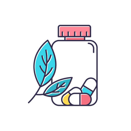 Herbal pills color icon. Homeopathy and holistic approach. Organic medication. Natural prescription. Pharmaceutical aid. Illness remedy. Sickness help. Allergy treatment. Isolated vector illustration Illusztráció