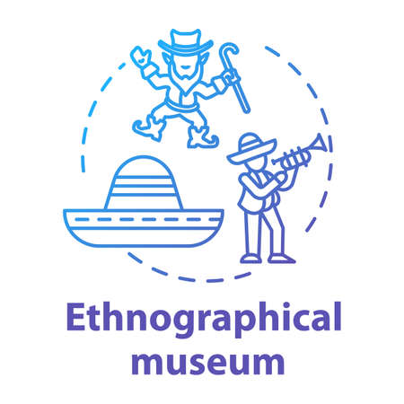 Ethnographical museum concept icon. Global heritage display. Anthropology, traditions. Global ethnic festival. Cultural exposition idea thin line illustration. Vector isolated outline drawing