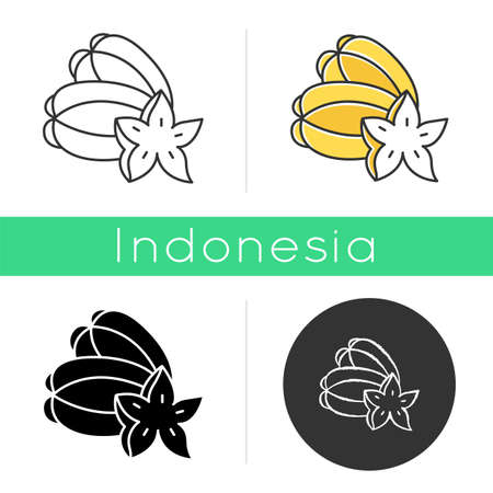 Star fruit icon. Carambola piece. Exploring local food specialties. Unique taste fruit. Asian star apple. Exotic plant. Linear, black, chalk and color styles. Isolated vector illustrations Vettoriali