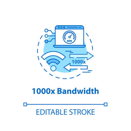 1000x bandwidth concept icon. Mobile internet. 5G technologies idea thin line illustration. High-speed connection. Wireless technology. Vector isolated outline drawing. Editable stroke Illustration