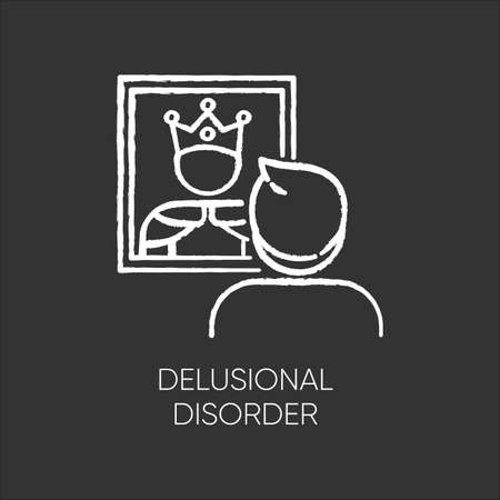 Delusional disorder chalk icon. Man in mirror reflection. Bizzare and false beliefs. Optical delusion. Megalomania. Clinical psychology. Mental illness. Isolated vector chalkboard illustration