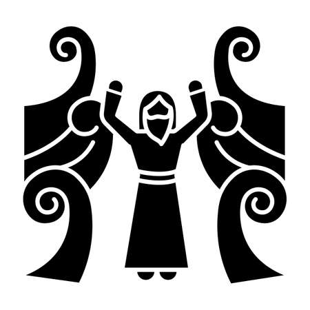 Crossing the Red sea Bible story glyph icon. Moses prophet. Parted water. Egyptians rescue. Religious legend. Biblical narrative. Silhouette symbol. Negative space. Vector isolated illustration Stockfoto - 137397186