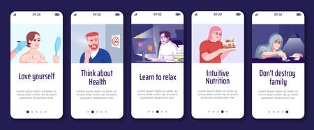 Addiction overcoming onboarding mobile app screen vector template. Help people with dependencies. Walkthrough website steps with flat characters. UX, UI, GUI smartphone cartoon interface concept