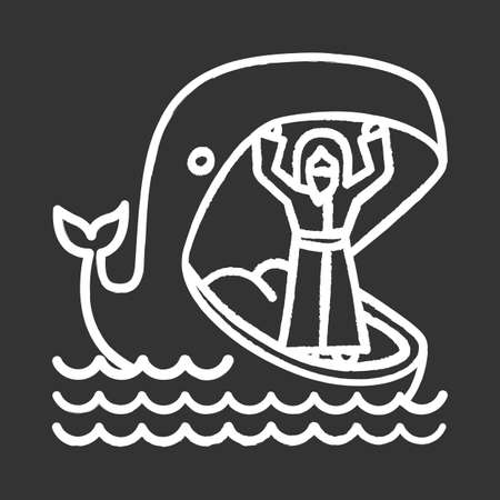 Jonah and whale chalk icon. Old Testament story. Jonahs miraculous return from jaws of huge fish. Repentance and forgiveness. Bible narrative. Isolated vector chalkboard illustration