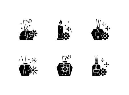 Aromatherapy glyph icons set. Floral scented sticks. Aromatic candles. Blossom air freshener. Cosmetology, spa therapy. Relaxation. Female selfcare. Silhouette symbols. Vector isolated illustration Vektorové ilustrace