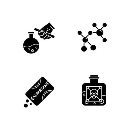 Science and nature glyph icons set. Biotechnologies products. Experiment methodology. Working in laboratory. Microbiology scientists. Silhouette symbols. Vector isolated illustration