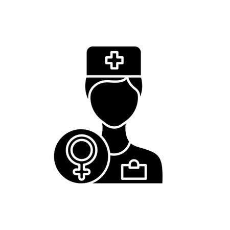 Gynecologist consultation glyph icon. Female health examination. Clinic appointment. Prenatal aid. Hospital visit. Woman health. Silhouette symbol. Negative space. Vector isolated illustration