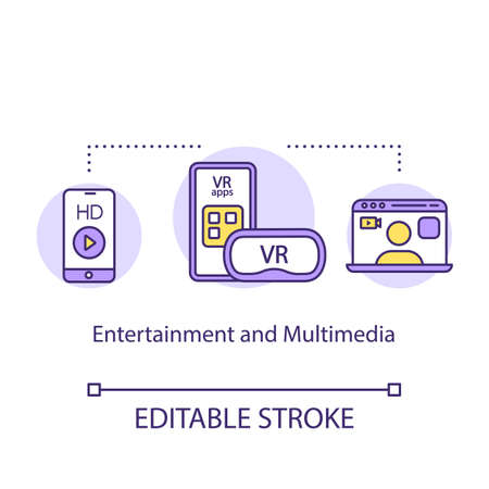 Entertaiment and multimedia concept icon. VR games and gadgets idea thin line illustration. Virtual reality apps. Smartphone and laptop. Vector isolated outline drawing. Editable stroke