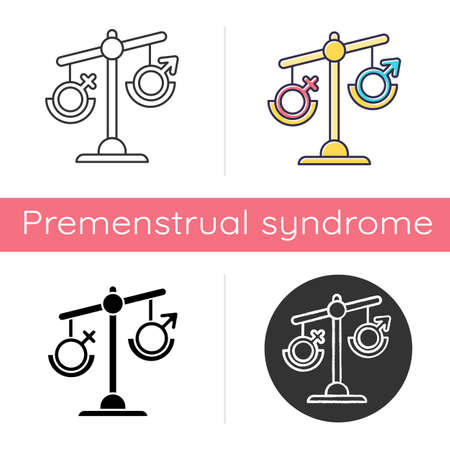 Hormone imbalance icon. Female and male gender sign on scale. Disbalance in testosterone and estrogen. Sexism and inequality. Flat design, linear and color styles. Isolated vector illustrations