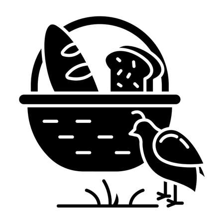 Manna and quail Bible story glyph icon. Bread loaves in basket and fowl. Religious legend. Christian religion. Biblical narrative. Silhouette symbol. Negative space. Vector isolated illustration