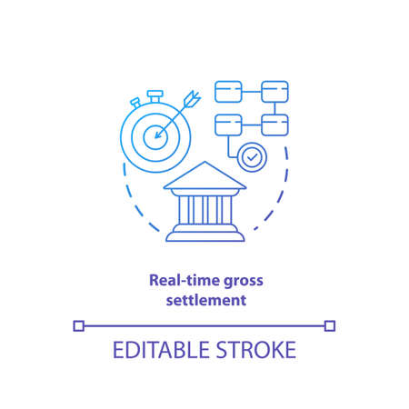 Real time gross settlement blue gradient concept icon. Funds transfer procedure idea thin line illustration. RTGS. Payment settling. Banking system. Vector isolated outline drawing