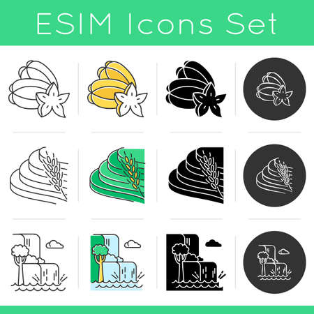 Indonesia icons set. Tropical animals. Indonesian islands. Exploring exotic culture. Unique fruits. Nature wonders and waterfalls. Linear, black, chalk and color styles. Isolated vector illustrations