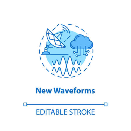 New waveforms concept icon. Global coverege. 5G technologies idea thin line illustration. High-speed connection. Mobile internet. Vector isolated outline drawing. Editable stroke