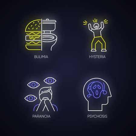Mental disorder neon light icons set. Bulimia. Eating disorder. Hysteria. Panic attack. Anxiety, depression. Paranoia. Fear and phobia. Psychosis. Glowing signs. Vector isolated illustrations