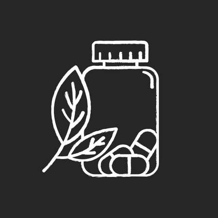 Herbal pills chalk icon. Homeopathy and holistic approach. Organic medication. Natural prescription. Pharmaceutical aid. Allergy treatment. Sickness help. Isolated vector chalkboard illustration Illusztráció