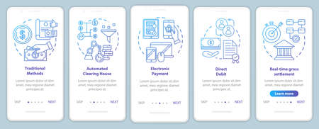 Payment systems onboarding mobile app page screen vector template. Direct debit. Electronic payment. Walkthrough website steps with linear illustrations. UX, UI, GUI smartphone interface concept
