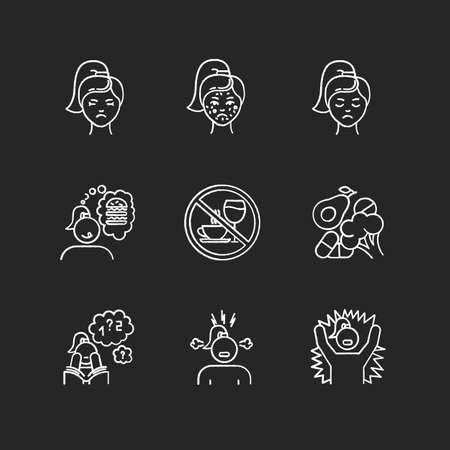 Predmenstrual syndrome chalk icons set. Female facial treatment. Acne and pimples. Sadness and stress. Food craving. Emotional outburst. Poor concentration. Isolated vector chalkboard illustrations
