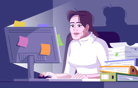 Workaholic woman flat vector illustration. Burnout office employee. Lady working overtime. Responsibility, deadlines. Compulsive worker girl at computer at night cartoon character