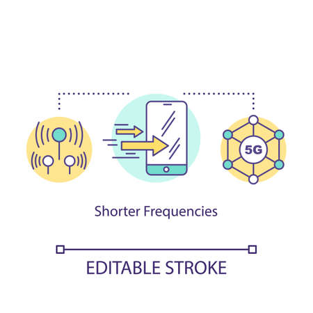 Shorter frequencies concept icon. 5G technologies idea thin line illustration. Mobile internet. Global coverege. High-speed connection. Vector isolated outline drawing. Editable stroke
