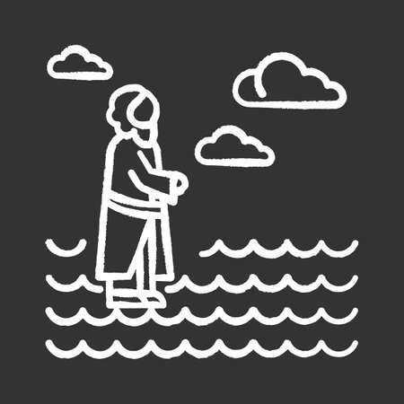 Jesus walking on water chalk icon. Miracles of Jesus Christ. Savior on water surface offering open hand and waching to heaven. New Testament. Bible narrative. Isolated vector chalkboard illustration