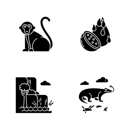 Indonesia glyph icons set. Tropical animals. Indonesian islands. Exploring exotic wildlife. Unique fruits and plants. Nature wonders and waterfalls. Silhouette symbols. Vector isolated illustration