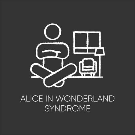 Alice in wonderland syndrome chalk icon. Visual perception. Size distortion. Dysmetropsia. Impaired vision and disorientation. Rare mental disorder. Isolated vector chalkboard illustration Vettoriali