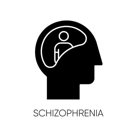 Schizophrenia glyph icon. Unclear thinking. Confused mind. Mental disorder. Paranoia, anxiety. Abnormal behaviour. Clinical psychology. Silhouette symbol. Negative space. Vector isolated illustration