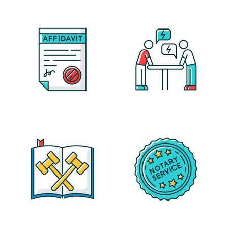 Notary services RGB color icons set. Apostille and document legalization. Affidavit. Legal code. Court statute. Negotiation. Argument. Conflict. Isolated vector illustrations Illustration