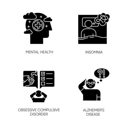 Mental disorder glyph icons set. Insomnia and sleep deprivation. Obsessive-compulsive syndrome. Alzheimers disease. Dementia from old age. Silhouette symbols. Vector isolated illustration