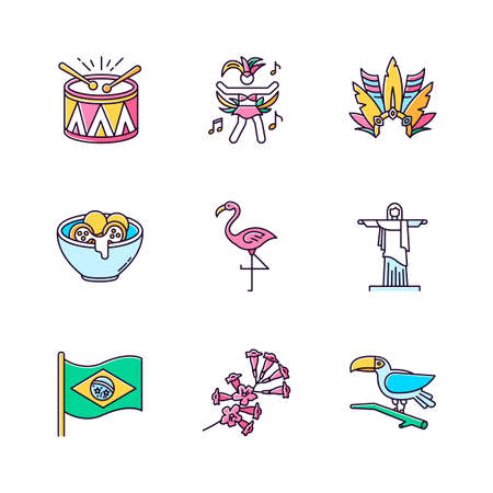 Brazilian culture pink RGB color icons set. Traditional masquerade. Flamingo. Jesus statue. Carnival hat. Samba. Exotic birds. Ethnic festival. National holiday. Isolated vector illustrations
