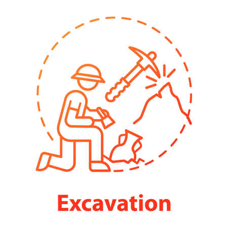 Excavation concept icon. Archaeological expedition. Historical research. Search for ancient artifacts. Cultural layer. Vector isolated outline RGB color drawing Banco de Imagens - 138553175