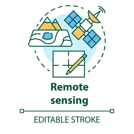 Remote sensing concept icon. Modern cartography. Earth exploration from space. Surveying satellite imagery idea thin line illustration. Vector isolated outline drawing. Editable stroke