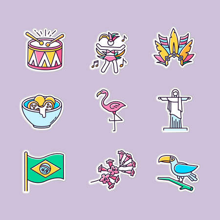 Brazilian culture printable patches. Traditional masquerade. RGB color stickers, pins and badges set. Flamingo. Jesus statue. Carnival hat. Samba. Vector isolated illustrations