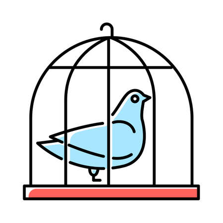Pigeon in cage blue color icon. Captive bird. Harbinger of peace. Nightingale in captivity. Bible narrative. Christian symbol of purity. Gospel story. Isolated vector illustration
