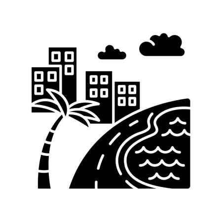 Brazil ocean beach black glyph icon. Skyscrapers and pond. Buildings. Road along coast with palm. San Paulo. Rio de Janeiro. Silhouette symbol on white space. Vector isolated illustration