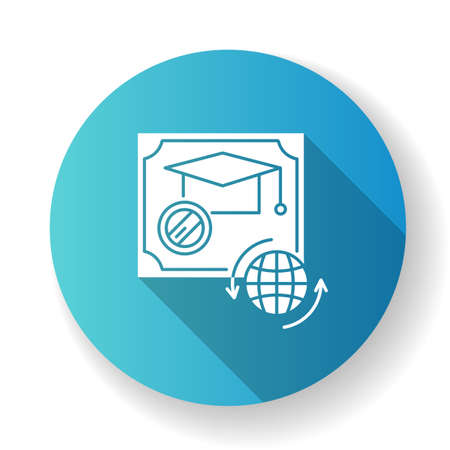Diploma blue flat design long shadow glyph icon. School certificate. Graduation confirmation. Academic document. Qualification. Degree. Education. Silhouette RGB color illustration Illustration