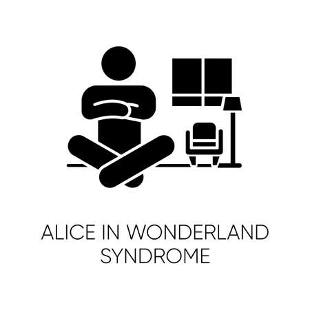 Alice in wonderland syndrome glyph icon. Visual perception. Size distortion. Dysmetropsia, disorientation. Rare mental disorder. Silhouette symbol. Negative space. Vector isolated illustration