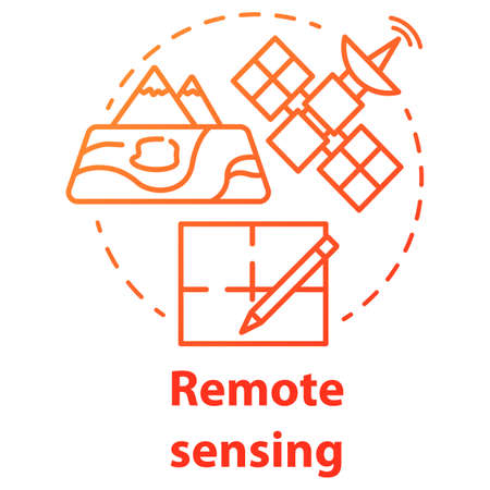 Remote sensing concept icon. Modern cartography. Earth exploration from space. Surveying satellite imagery. Vector isolated outline RGB color drawing Illustration