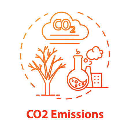 CO2 emission concept icon. Facility and factory production. Chemical pollution. Facility and factory. Overconsumption idea thin line illustration. Vector isolated outline RGB color drawing