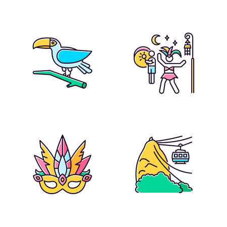 Brazilian carnival yellow RGB color icons set. Traditional masquerade. Street party. Masquerade mask. Pao de Acucar. Toucan. Ropeway. National festival. Isolated vector illustrations