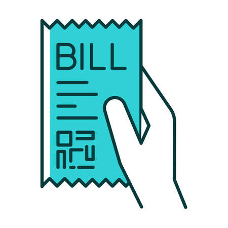 Bill of exchange turquoise RGB color icon. Printed cheque. Payment notice. Purchase confirmation, proof. Cashiers receipt, cash-memo. Shopping. Purchased items list. Isolated vector illustration