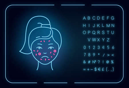 Acne neon light icon. Pimples on female face. Skincare for inflammation and irritation. Facial treatment. Cosmetology. Glowing sign with alphabet, numbers and symbols. Vector isolated illustration Banque d'images - 138600182