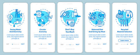 Responsible consumption onboarding mobile app page screen with concepts. Recycle, ecology. Consumerism walkthrough 5 steps graphic instructions. UI vector template with RGB color illustrations