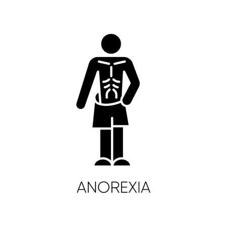 Icône de glyphe d'anorexie. Trouble de l'alimentation. Masse corporelle insuffisante. Personne mince et maigre. Perte de poids malsaine. Santé mentale. Symbole de la silhouette. Espace négatif. Illustration vectorielle isolée Vecteurs