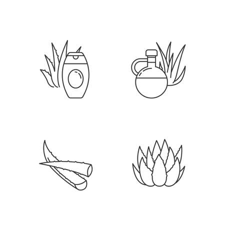 Aloe vera pixel perfect linear icons set. Botanical sprouts. Medicinal herb. Healthy skincare. Customizable thin line contour symbols. Isolated vector outline illustrations. Editable stroke