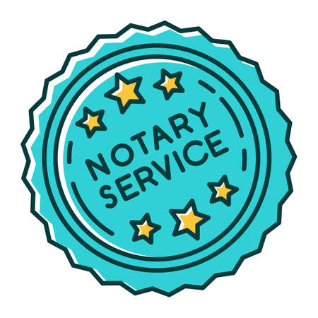 Notary services stamp mark RGB color icon. Apostille and legalization. Notarization. Notarized document. Authentification. Validation, confirmation. Isolated vector illustration