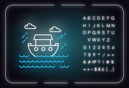 The Flood Bible story neon light icon. Noah Ark. Sacred ship in worldwide water. Religious legend. Biblical narrative. Glowing sign with alphabet, numbers and symbols. Vector isolated illustration Ilustrace