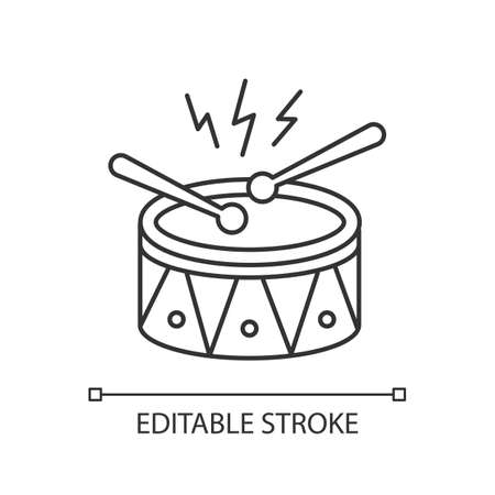 Drum with drumsticks pixel perfect linear icon. Musical instrument. Brazilian carnival. Samba. Thin line customizable illustration. Contour symbol. Vector isolated outline drawing. Editable stroke