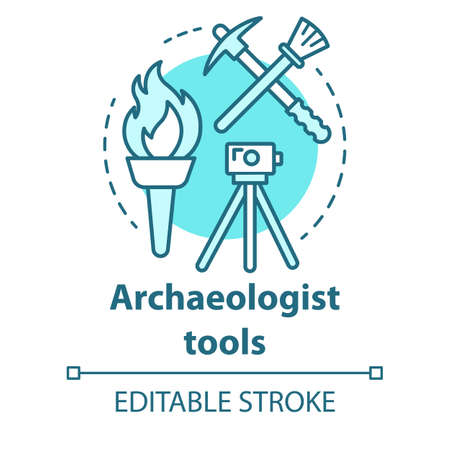 Archaeologist tools concept icon. Archelogy research. Treasure hunter equipment. Torch, pickaxe, brush, level tripod. Vector isolated outline RGB color drawing. Editable stroke