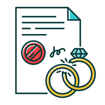 Divorce RGB color icon. Formal ending of marriage. Legal separation. Judicial declaration of marriage disolution. Breakup. Notary services. Apostille and legalization. Isolated vector illustration